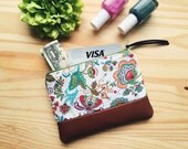 Paisley Floral Brown Coin Purse, Leather Zipper Pouch, Paisley Change Purse, Small Wallet, Fabric Change Wallet, 144 Collection