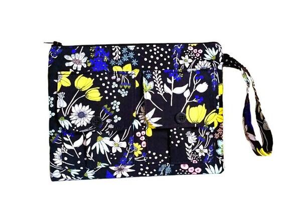 Black Wristlet Wallet, Fabric Wallet, Cell Phone Wallet Wristlet for Women, Floral Wallet