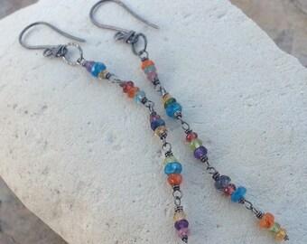 Multi GEMSTONE earrings, multicolor gemstone earrings, Garnet Apatite Citrine Amethyst Iolite Peridot Chrome Diopside handmade long earring
