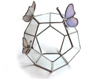 Geometric Glass Terrarium with Stained Glass Butterflies in Pastel Colors - Dodecahedron Planter or Display Case