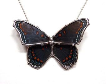 Red Spotted Purple Admiral - Real Butterfly Necklace - Statement Necklace - Butterfly in Flight Design