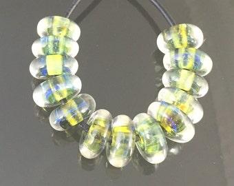 Handmade Lampwork Boro Beads Set of 13 Boro Borosilicate Glass Discs Disks StoneyMarie