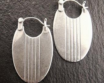 Oval Striped Hoop Earrings in Sterling Silver
