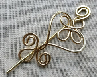 Celtic Heart and Swirls Brass Shawl Pin, Scarf Pin, Sweater Clip Brooch, Mother's Day Gift for Her Jewelry, Women, Knitting Accessories