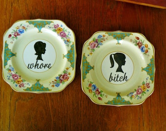 Bitch Whore cameo silhouette hand painted vintage plate duo with hangers recycled humor bad girl decor display