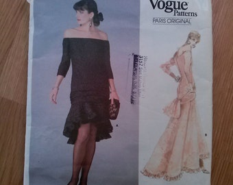 Vintage 1980s Pattern Evening Gown Vogue 1995 80s Dress Wedding Bridal Bustle Small 2015461