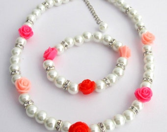Childrens Pearl Jewelry with Rose Flower White Pearls Necklace Bracelet Flower Girl Jewelry, Pearl Flower Girl Necklace, Free Shipping USA