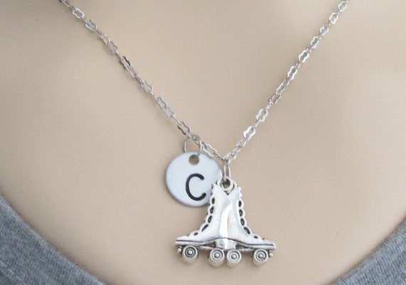 Roller Skate Necklace, Skate Necklace, Roller skating Necklace, Gifts Teenage Girls, Initial Necklace Free Shippin In USA