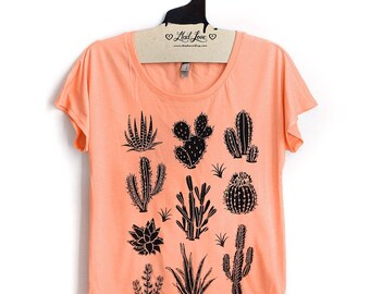S,L,XL-  Tri-Blend Peach Dolman Tee with Cactus Screen Print
