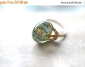 ON SALE Aqua Blue Glass Ring Gold Green Ring Aqua Ring Aqua Gold Ring Aqua Blue Ring Artisan Boro Glass Ring Tropical Glass Gifts for Her