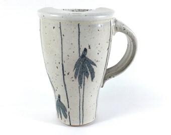 Stoneware Travel Mug with Coneflower Silhouette