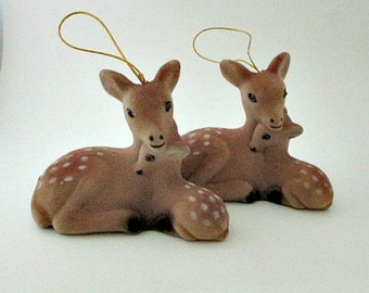 2 Flocked Deer and Fawn Ornaments