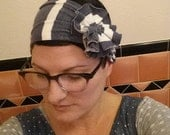soft blue & white striped jersey knit flapper girl headband