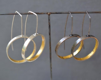 Wide Gold & Silver Circle Hoop Earrings- oxidized or bright finish