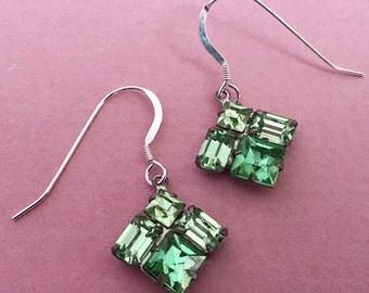 Vintage Green Rhinestone Diamond Earrings