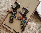 Mad Hatter Earrings handmade ooak laser cut wood alice in wonderland fantasy book nerd illustration alice in wonderland jewelry