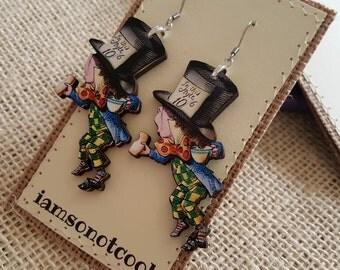 Mad Hatter Earrings handmade laser cut wood earrings alice in wonderland earrings book illustration earrings alice in wonderland jewelry