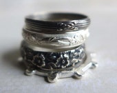 Set of 4 Sterling Silver Patterned Stacking Rings, Textured Silver Stacking Rings Floral Oxidized Stackable