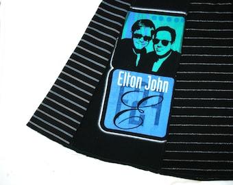 Elton John Bill Joel Tee Skirt women  XL tshirt skirt Face 2 Face Music Tour skirt aqua blue red black silver stripes upcycled tshirt OOAK