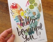 hello, beautiful you print - 5x7 inches