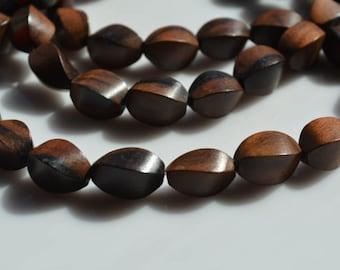 Twisted Tiger Ebony Wood Beads 10x25mm 12pcs
