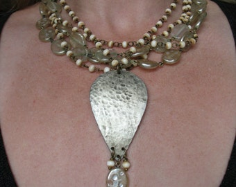 Breaking Free From Suburbia Necklace - Hammered, Blackened Shield, Vintage Glass Pearl and Bone Chain Multi-Strand