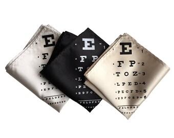 Eye Chart Print Pocket Square. Black, cream, champagne & more! Eye Doctor gift, glasses wearer gift, ophthalmologist gift, optician gift.