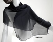 """RESERVED made to dimensions Black Sheer Scarf, Pure Silk Scarf, Silk Chiffon 10mm, Petite Wrap, Scalloped Edges, Pure Natural Silk,16x68""""."""