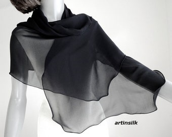 "Black Sheer Scarf, Pure Silk Scarf, Silk Chiffon 10mm, Petite Wrap, Scalloped Edges, Pure Natural Silk, Small Coverup, 18x53"" ready to ship"