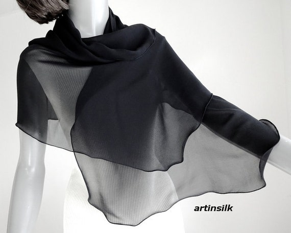 """Black Sheer Scarf, Pure Silk Scarf, Silk Chiffon 10mm, Petite Wrap, Scalloped Edges, Pure Natural Silk, Small Coverup, 18x53"""" ready to ship"""
