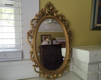 Ornate Gilded Gold Mirror / Syroco / French Rococo Style / Baroque / PARIS Apartment
