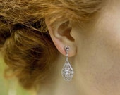 Drop Style  Filigree and Crsytal Earrings, HALO