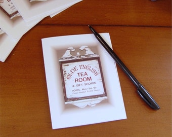 8 Note cards, Olde English Tea Room, antique sign, old sign, blank cards, thank you cards
