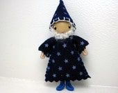 Wizard Bendy Doll by Princess Nimble-Thimble, Bendable Felt Doll, Magical Wizard, Miniature Small, Halloween Magic, Waldorf Nature Table,