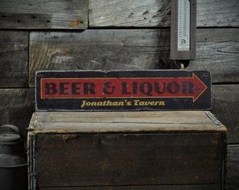 Custom Beer Liquor Tavern Arrow Sign Rustic Hand Made Vintage Wooden Sign Ens1001170