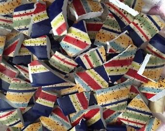 100 Mosaic Tiles Mix Broken Plate Art Hand Cut Mix Assortment Vintage stripes Colorful Designs Mix
