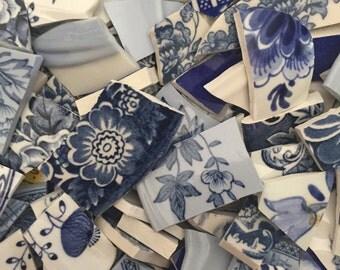 Mosaic Tiles Mix Broken Plate Art Hand Cut Pieces Supply Vintage Blue Chintz White Mix 200
