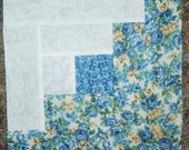 Presewn Individual Quilt Blocks Log Cabins Blue Yellow Florals 9.5 inches