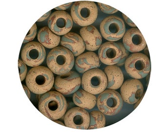 Oasis Vintage Ceramic Beads 10 - LOWERED PRICE - Stoneware Round, Large Hole, Marbled Camouflage colors of Green Terracotta Dark Beige Brown