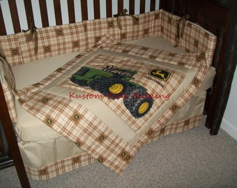 SALE!! 7 Piece John Deere baby crib bedding set in brown plaid Deere plaid fabric and light brown beige accent fabric
