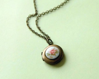 vintage brass locket with glass pink rose cabochon- tiny secrets
