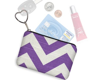 CLEARANCE Purple Chevron Credit Card Holder Wallet Coin Purse Keychain Key Fob Fabric Change Purse Business Card Case White Black RTS