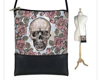 Mini crossbody bag, Small sling bag, Cross body purse, Smartphone bag fits iPhone 6 Plus, skulls roses, goth, pink gray RTS