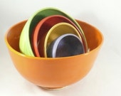 Nesting Bowls Set of 5 in Fiesta Citrus Colors, Kitchen Serving Ware, Mixing Bowls, Colorful Dinnerware Dishes, Wedding Gift