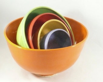 Nesting Bowls Set of 5 in Bright Citrus Colors, Kitchen Serving Ware, Mixing Bowls, Colorful Dinnerware Dishes, Wedding Gift