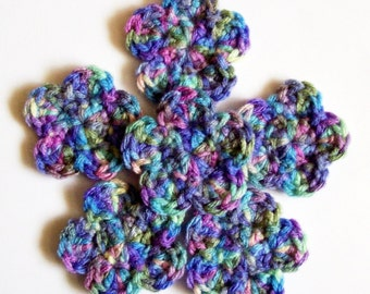 Monet Crochet Flowers, Crochet Flower Embellishments, Set of 6, Crochet Flower Motif