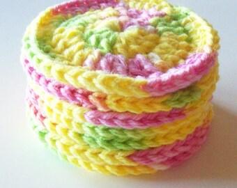 Crochet Face Scrubbies, Cotton Scrubbies, Pink Lemonade Scrubbies, Make up Remover, Set of 7, Facial Scrubbies, Reusable, Ecofriendly