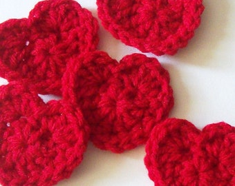 Crochet Heart Appliques, Red Crochet Heart, Crochet Heart Embellishment, Scrapbooking, Set of 5, Crochet Heart Motif