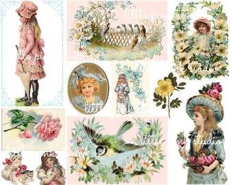 Pretty Things Collage Sheet  (printed on paper, fabric, or sticker paper)