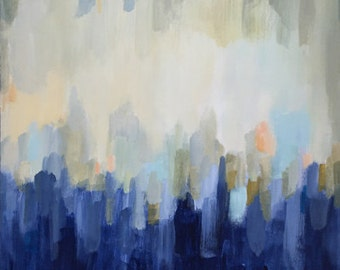 blue abstract contemporary art, modern art, abstract painting, large abstract, original acrlyic painting pamela munger